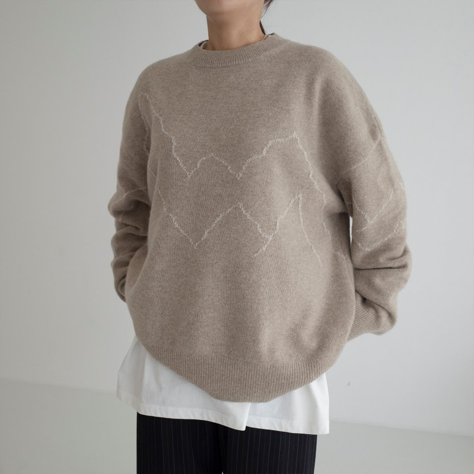 Boucle line pullover