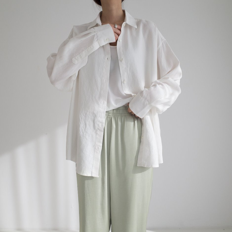 Loose tencel linen shirt