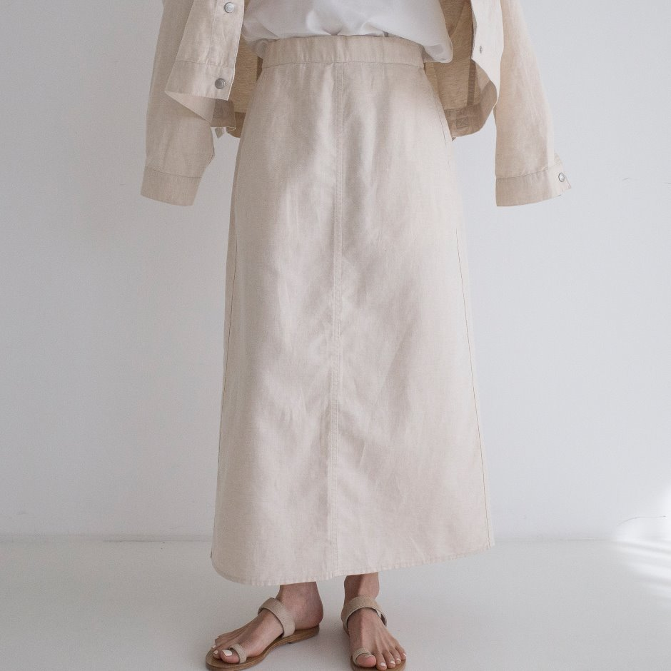 Linen washed skirt