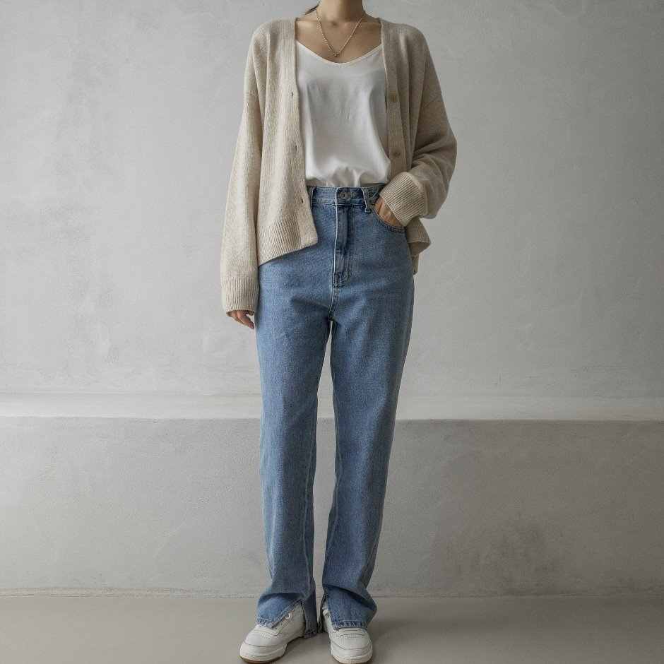 River slit denim pants