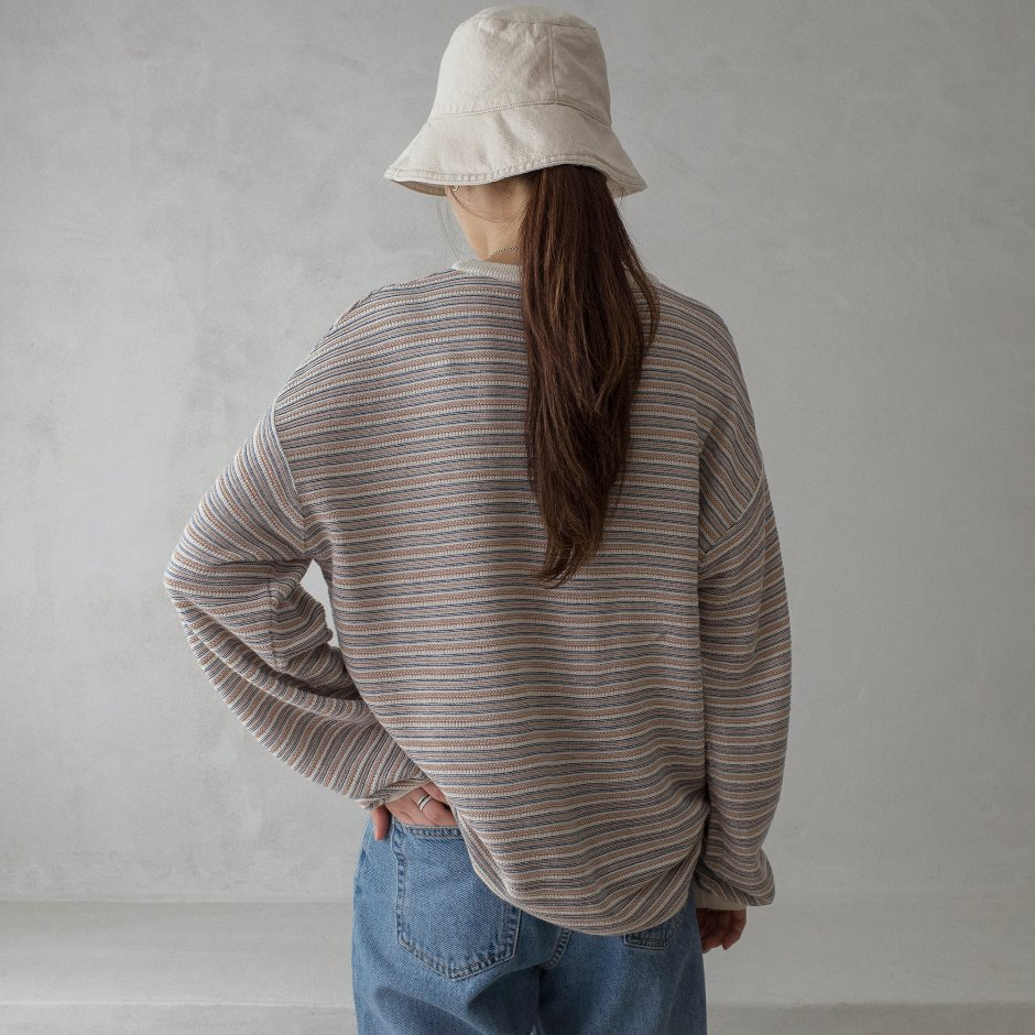 Cotton multi stripe pullover
