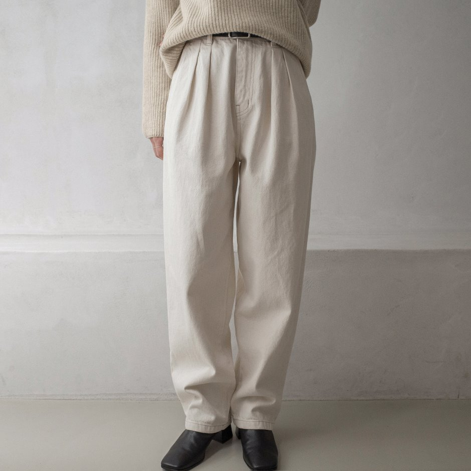 River natural two tuck pants
