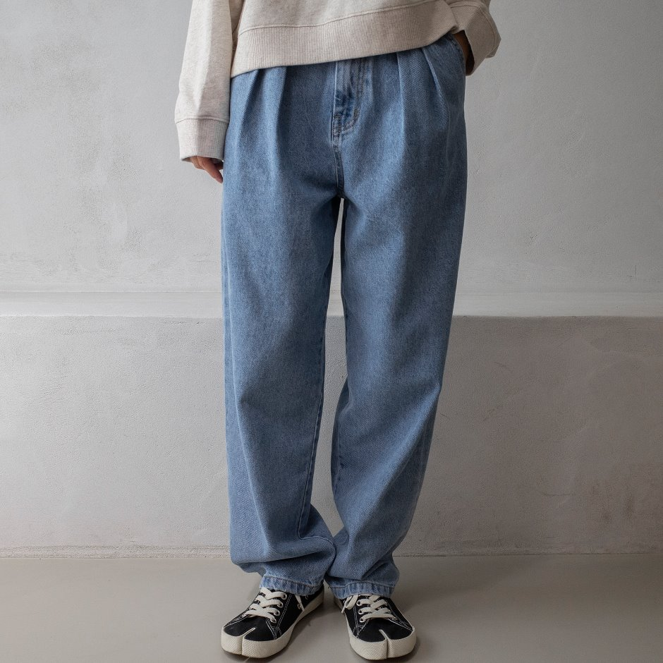 River denim two tuck  pants