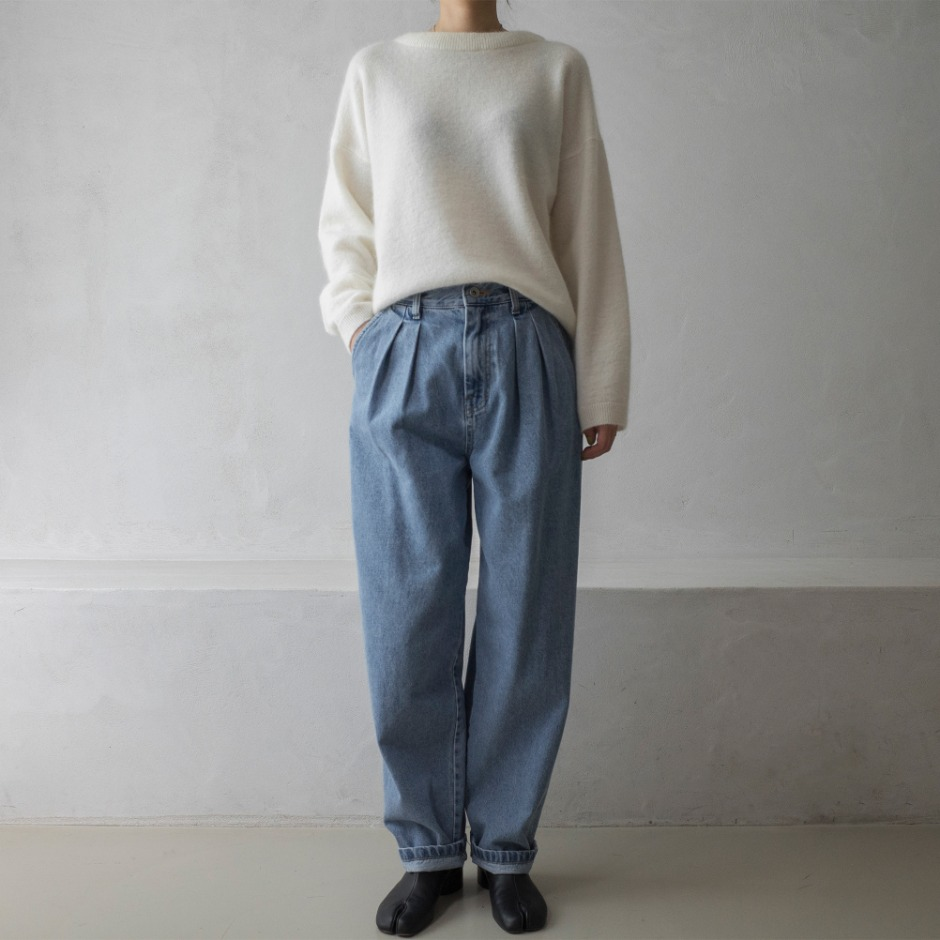 Mohair round pullover